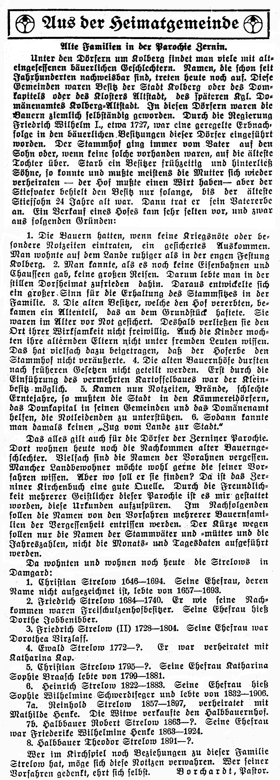 Quelle: Gemeindeblatt Zernin, Ausgabe 4/1930